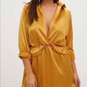 Tops - Plus Gold Twist Front Silky Shirt Dress